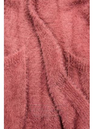 Różowy długi kardigan