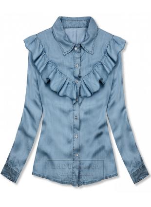 Delikatna koszula z lyocellu jasnoniebieska