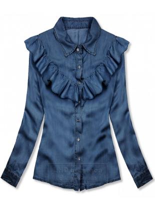 Delikatna koszula z lyocellu ciemnoniebieska
