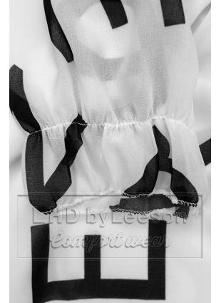 Biała midi sukienka z nadrukiem w motywie liter