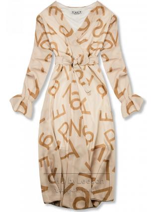 Beżowa midi sukienka z nadrukiem w motywie liter
