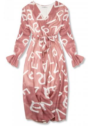Jasnoróżowa midi sukienka z nadrukiem w motywie liter