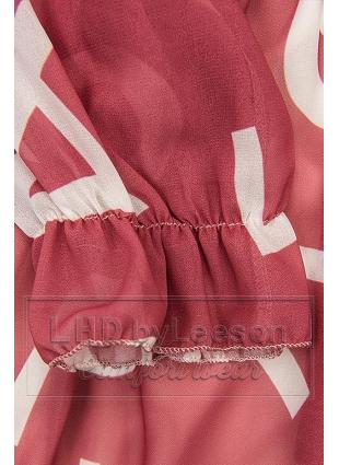 Ciemnoróżowa midi sukienka z nadrukiem w motywie liter