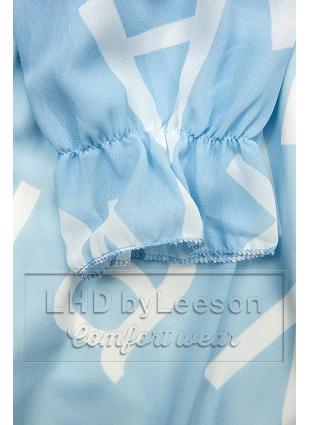 Jasnoniebieska midi sukienka z nadrukiem w motywie liter