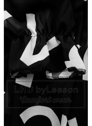 Czarna midi sukienka z nadrukiem w motywie liter