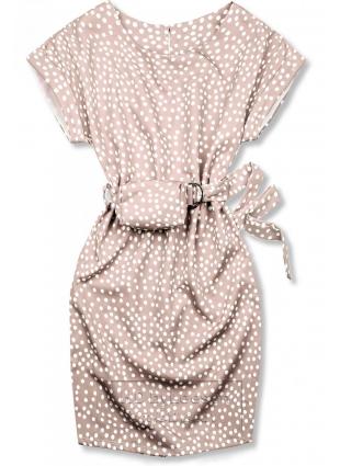 Jasnoróżowa sukienka w kropki z torebeczką na pasku