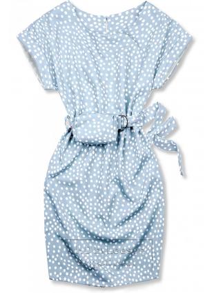 Jasnoniebieska sukienka w kropki z torebeczką na pasku