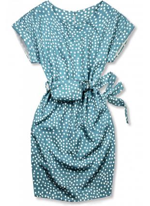Niebieska sukienka w kropki z torebeczką na pasku