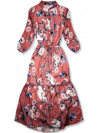 Kwiecista midi sukienka ceglasto-czerwona