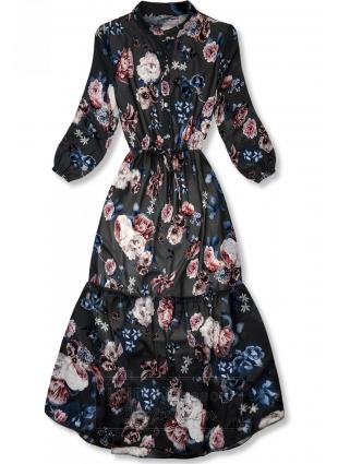 Kwiecista midi sukienka czarna