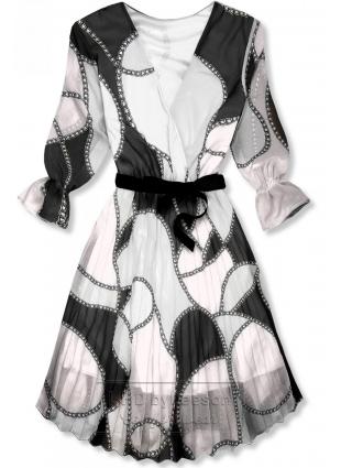 Wzorzysta midi sukienka czarno-biała