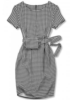 Czarno-biała sukienka z torebeczką przy pasku