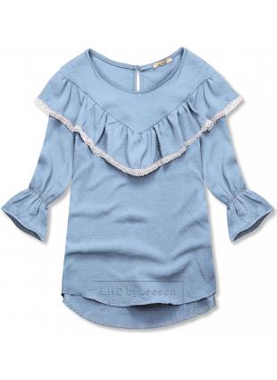 Niebieska bluzka z falbanką