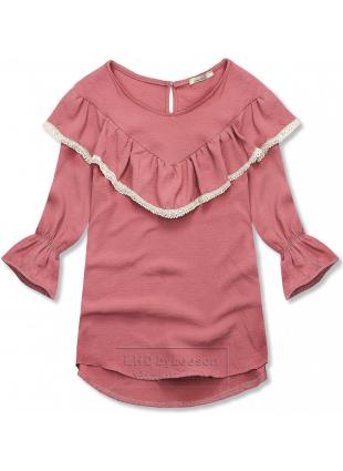 Ciemnoróżowa bluzka z falbanką