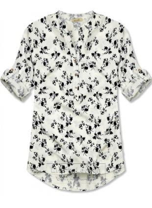 Biało-czarna bluzka z kwiecistym wzorem