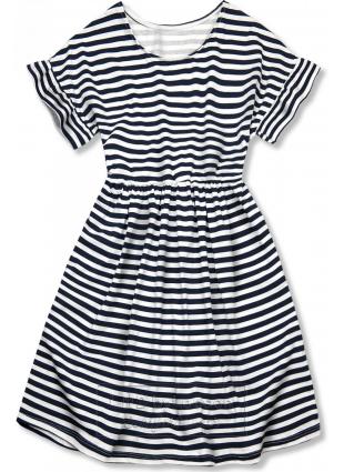 Granatowo-biała luźna sukienka w paski II.