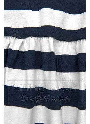 Granatowo-biała luźna sukienka w paski I.