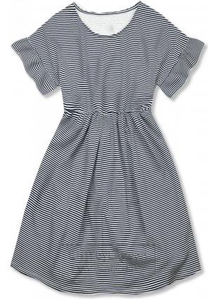 Granatowo-biała luźna sukienka w paski IV.